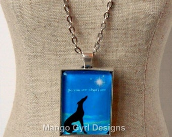 Greyhound Do You See What I See Necklace,Greyhound Necklace, Greyhound Christmas Necklace, Greyhound Jewelry, Greyhound gifts, Greyhound,