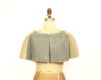 Corduroy Dusty Blue and Beige Patchwork Caplet