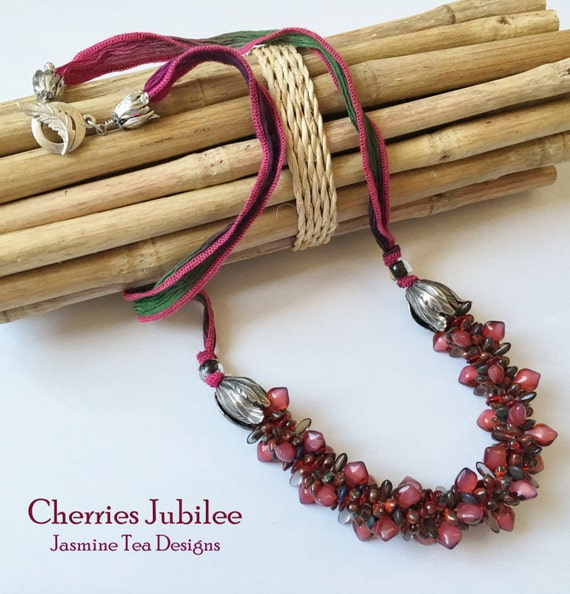 Cherries Jubliee Beaded Kumihimo Necklace with Hand Dyed Silk