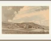 Perching Farm from Fulking, Sussex, England, Vintage Print, Charles Knight, 1949, WW2, War Art