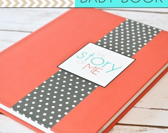 SALE // Baby Book/Baby Journal/Gender Neutral - Solid Coral with Grey Polka Dot Cover,Perfect Bound (Pregnancy - 5 Years)