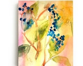 Botanical Abstract Canvas Print - Large Wall Art - Bright Home Decor - Yellow Flowers - Watercolor - Still Life Art Painting - Living Room