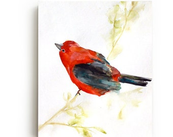 35% Off SALE - Red Bird Canvas Print - Large Wall Art - Bright Home Decor - September - Watercolor - Bird Art Painting - Living Room Decor