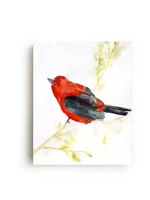 Red Bird Wall Decor : Items similar to red bird canvas print large wall art