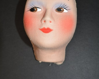 vintage 40s doll face hand painted boudouir doll mask