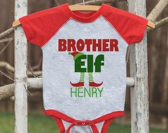 Boys Christmas Shirt - Kids Holiday Shirt or Onepiece - Brother Elf Shirt - Kids Christmas Pajamas - Elf Family Shirts - Family Photo Outfit