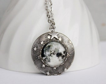 Full Moon Locket Necklace. Moon Necklace. Star. Space Jewelry