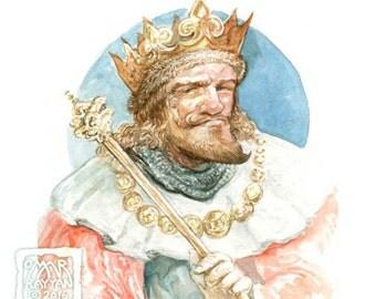King - original watercolor painting, game art