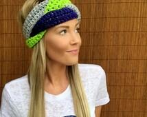 Seattle Seahawks Navy Blue, Lime Green, Grey Hawks Braid Head Hair Accessory Band Earwarmer Gray Headband Vegan Fashion Woman Unisex Men