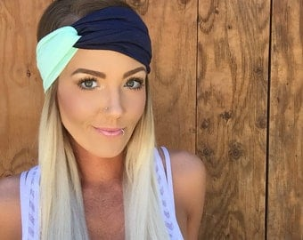 Boho Mint Blue + Navy Blue Turban Headband || Pastel Stretch Workout Jersey Knit Cotton Hair Band Bohemian Festival Accessory Girl Woman