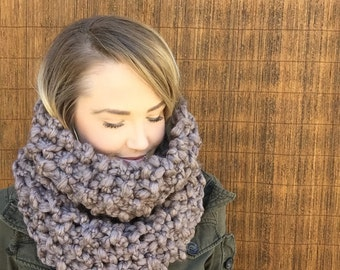 Chunky Wool Thick Knit Infinity Cowl In Taupe Brown Scarf Fashion Hood Oversized Wrap Accessory Woman Girl Unisex