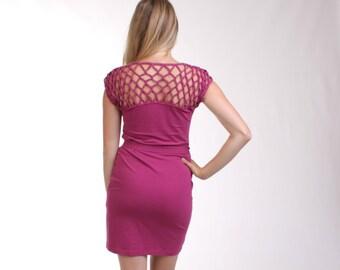 CLEARANCE - Purple Organic Bamboo Tunic, Knotted Womens Tunic Dress, Belted Dress, Basketweave Dress, Organic Clothing Bamboo Dress - COCO