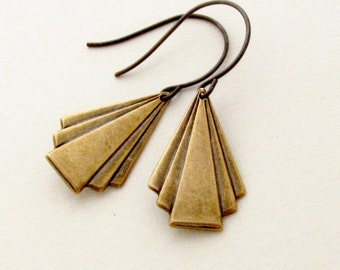 Brass Deco Triangle Earrings Geometric Jewelry Fan Drop Earrings -  Deco Drops