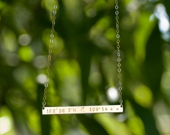 Extra Long Bar Necklace, Roman Numerals Long Bar, Thin Personalized Location Coordinates Bar Necklace, Layering Necklace Personalized