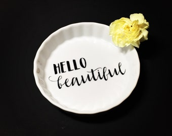 Hello Beautiful Jewelry Dish | Beautiful | Ring | Earring | Wedding | Gift | Love | Bridesmaid | Black | Gold | Ceramic | engagement