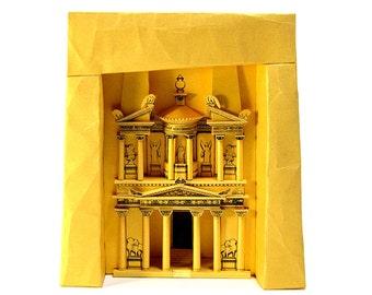 "Petra Treasury, paper model kit of ""Indiana Jones temple"" in Jordan    26 cm = 10 inches high    gold color"