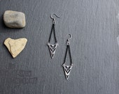 Free shipping to Canada - Manitoo - Mix Metal earrings - Industrial, contemporary, steampunk, geometric, chevrons, triangles jewels, jewelry