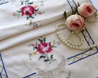 Vintage Runner, Embroidered, Roses, Cross Stitch, Dresser Scarf, Cottage Charm, French Country