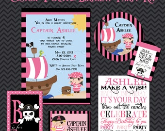 Pirate Party Kit, Girl Pirate Birthday Party, Printable Party Kit, Girl Party, Printable Party, 5x7 Invitations, Custom