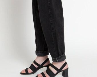 Vintage 90s Black Elastic Strap Chunky Heel Sandals   7.5