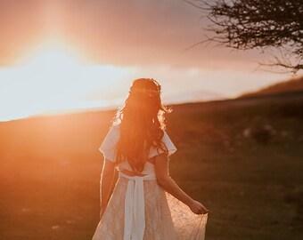 Boho wedding dress, fall wedding gown, rustic lace bridal gown, golden lace wedding dress, winter bride, boho bridal gown, rustic wedding