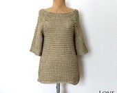 Hand Knitted Cotton Sweater Beige Slouchy Sweater Gold Armor Knit Sweater Medium Size Sweater Gift for Her Organic Sweater