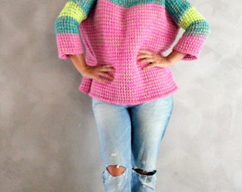 Hand Knitted Pink Neon Yellow Turquoise Sweater Handmade Pullover Colorful Striped Sweater Winter Sweater One of a kind Mohair Knit Sweater