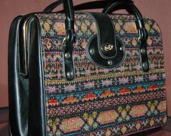 Vintage 1960's Doctor Style Box Handbag Carpet Handbag Ethnic Tribal Design
