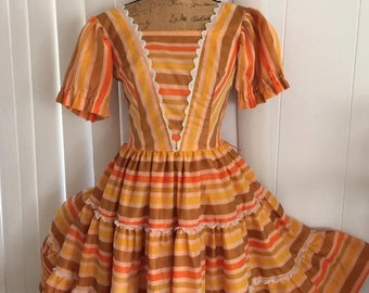 Yee Haw -- Adorable Vintage Western H Bar C Ladies Dress from the 60's Size S-M