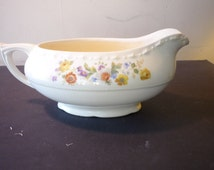 Vintage Gravy Boat - Crooksville China - Made in USA - Floral Pattern 1930s
