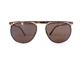 Alain Delon Sunglasses //Women's Aviator Browline Vintage 1990's// Black & Tortoiseshell Frames//Made in France//New Old Stock// #M91 DIVINE