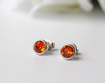 Tangerine Orange Swarovski Crystal Titanium Stud Earrings Silver Simple Dainty Nickel Free