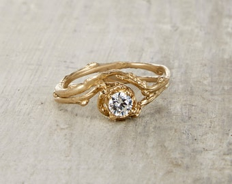 4mm Naples Engagement Ring - 14kt Gold and White Sapphire, Moissanite or Diamond Customizable Twig Engagement Ring