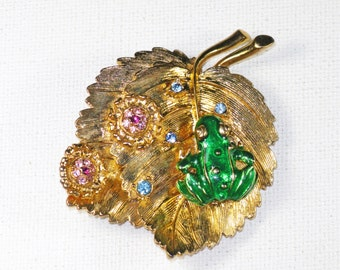 Vintage R. J. Graziano Gold Tone Leaf and Removeable Frog Brooch Pin (B-3-7)