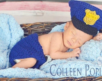 Baby Photo Prop - Police Baby - Police Baby Outfit - Baby Costumes Cop - Police Clothes - Baby Police Hat And Diaper Cover With Handcuffs