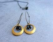 Small hoop earrings - oxidized sterling silver hoops - small brass earrings - black flower earrings - bohemian earrings