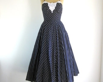 Polka Dot Dress Black and White 1980s Vintage 1950s Rockabilly Full Skirt Lace Fit and Flare Dress XS