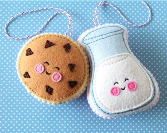 PDF Pattern - Cookie & Milk Felt Pattern, Kawaii Felt Ornament Pattern, Felt Softie Sewing Pattern, Felt Food Pattern