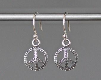 Peace Sign Earrings - Peace Jewelry - Bali Silver Earrings - Peace Charms - Peace Charm Earrings - Silver Dangle Earrings - Petite Earrings