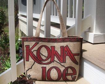MTO. Custom. Kona Burlap Weekender & Tote. Repurposed Kona Joe Coffee sack. Coffee Lover Gift. Handmade in Hawaii.