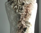 SALE - MINI Patchwork PETAL textured scarf by Fairytale13 - cream, taupe, gold and natural tones - Handmade in the Uk.