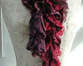 SALE - patchwork petal SCARF by FAIRYTALE13 - deep berry tones, purple, pinks, reds and light purple.