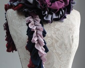 SALE - patchwork petal SCARF by FAIRYTALE13 - red, purple, blue, grey, lilac & lace.