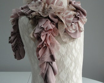 SALE - girls MINI Patchwork PETAL textured scarf by Fairytale13 - antique pink and lace - Handmade in the Uk.