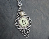Initial Necklace - Initial Pendant - Typewriter Key Jewelry - Typewriter Necklace Letter B