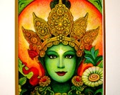 Green Tara Buddha art Goddess meditation matted print of spiritual painting by Sue Halstenberg