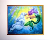 Mermaids Polar Bear Kiss mermaid art whimsical fantasy matted Print of painting by Sue Halstenberg