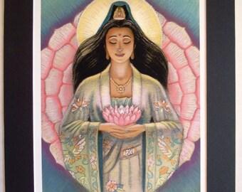 Kuan Yin Zen art Pink Lotus matted print of spiritual painting by Sue Halstenberg