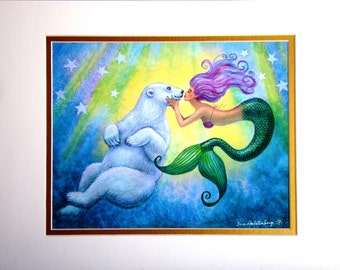 Mermaids Polar Bear Kiss mermaid art whimsical fantasy matted Print of painting by Sue Halstenberg