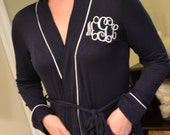 Classic Monogrammed Robe for Women / Navy Blue Monogrammed Robe / Loungewear for Women